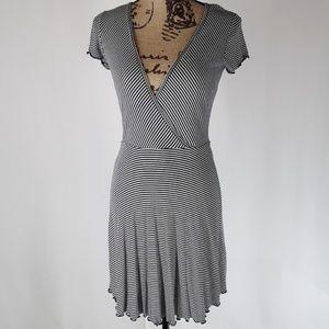 Derek Heart | Navy Stripe Faux Wrap Dress (M)